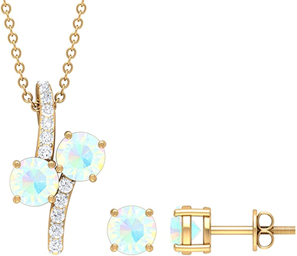 Two Stone Jewelry, Diamond Pendant Set with Earrings, Unique Jewelry Sets for Women,14K Solid Gold