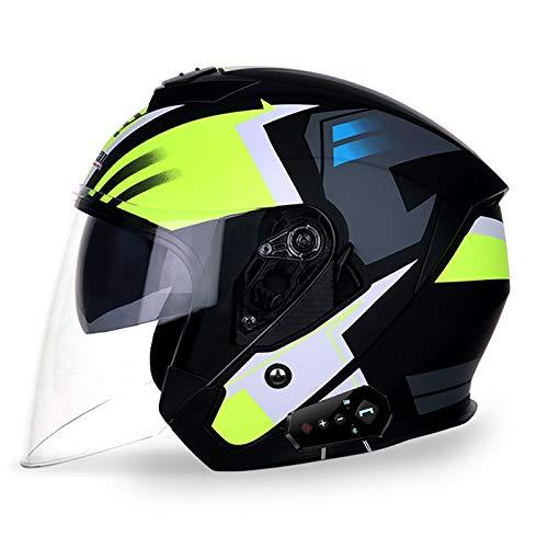 Casco de motocicleta de cara abierta aprobado por DOT con Bluetooth, casco 3/4 con visera para motocicleta Mofa, ciclomotor, Bobber Chopper Cruiser Racing medio abierto casco D, XL = 61 ~ 62 cm