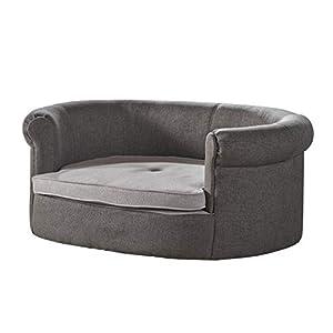 Christopher Knight Home Chelsei Oval Fabric Dog Sofa, Charcoal / Light Grey