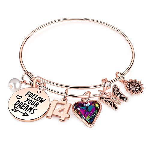 Ursteel 14 Year Old Girl Gifts for Birthday, 14 yr Old Birthday Gifts for Granddaughter Daughter's Birthday Bracelets for Kids Birthday Presents