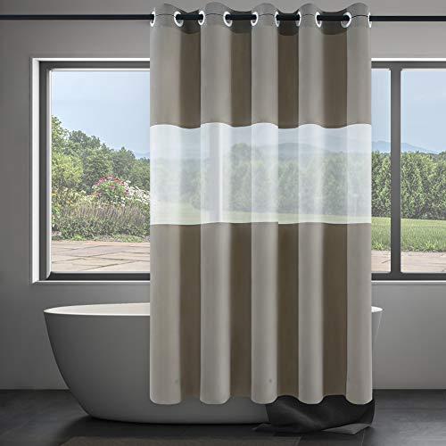 Furlinic Duschvorhang aus PEVA 180x180cm Wasserdicht Waschbar Anti-schimmel Vorhang mit Frost Fenster für Badewanne & Dusche in Badezimmer Duschvorhänge mit Magnet Khaki mit Groß Ösen.