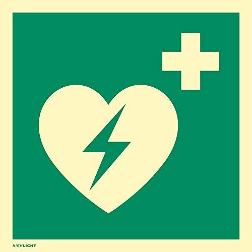 Hinweisschild auf einen Defibrillator (AED Automatisierter externer Defibrillator) PVC HIGHLIGHT 20 x 20cm gemäß ASR A 1.3/BGV A8/DIN 4844