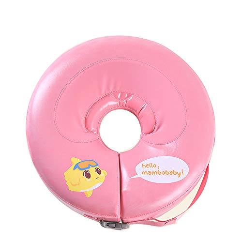 LXMBox Cuello del Anillo del Flotador de la natación del bebé/Anillo del Cuello del recién Nacido/Flotador Infantil, Inflable Gratuito, Ajustable, para niños Juguetes para la Piscina,Pink-L