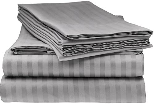 Queen Italian Prestige Collection Bed Sheet Set – 1800 Luxury Soft Microfiber Hypoallergenic Deep Pocket 4-Piece Bedding Set – Wrinkle, Stain, Fade Resistant – Grey