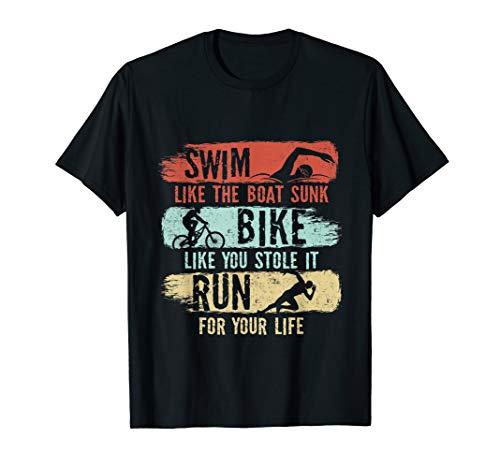Swim Bike Run Sportler Triathlon Sportler Geschenk T-Shirt T-Shirt
