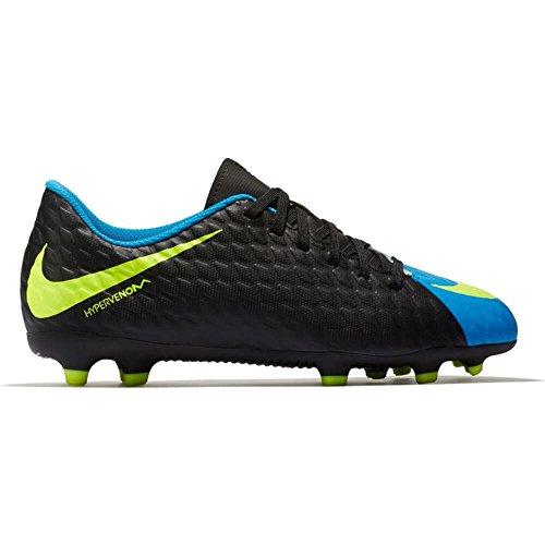Nike Kinder Hypervenom Phade III FG Fußballschuhe, Unisex-Kinder, Schwarz/Volt, 5 Big Kid M