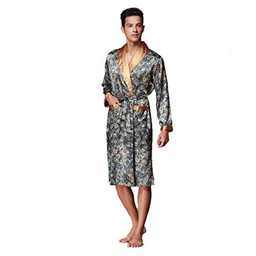 BOYANN Batas y Kimonos para Hombre Ropa de Dormir de Satén Albornoces Largos, Azul L