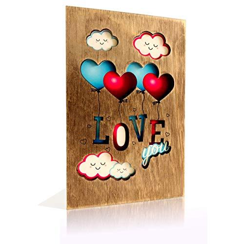 BENCARDI® Grußkarte - einzigartige Karte Hochzeit aus Holz - Hochzeitskarte Glückwunsch - Geburtstagskarte - Birthday card - LOVE you