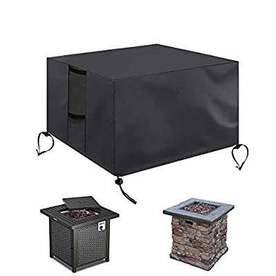 POMER Gas Fire Pit Cover Square - 28x28x25 inch Waterproof Anti-UV Heavy Duty for Patio Firepit Table