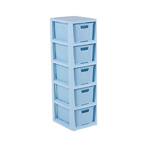 BranQ - Home essential Regal in Rattan Design, Blau, 5 Körben