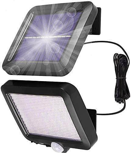 Lámparas solares para exterior IP65 resistente al agua, foco exterior, 56 LED, lámpara solar de 120°, ángulo de iluminación de 3 modos, lámpara de pared con cable de 16,5 pies