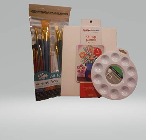 Canvas Panels Bundle with 25pc Artist Brush Pack and 10 Well Paint Tray