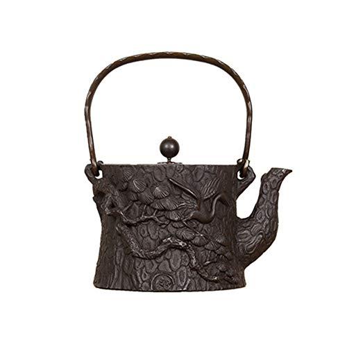 Tetera japonesa de hierro fundido, tetera de hierro fundido hecha a mano de hierro hervido, tetera kung fu, tetera para hacer té, magníficos detalles esculturales, hierro fundido, marrón, 1400ml