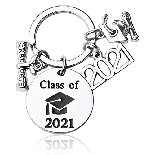 Class of 2021 Congratulations Graduation Gifts Keychain Engraved High School College Graduation Key Ring Inspirational Gifts for Her Him Women Men Daughter Son Friends Teen Girls Boys from Mom Dad