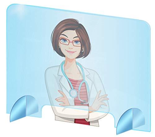 Spuckschutz Plexiglas aus Acrylglas - Glasklar Plexiglas Schutzwand - sichern Spuckschutz Thekenaufsatz mit Durchreiche - Farblose Plexiglas Platten - Virenschutz (90x60 cm (BxH))