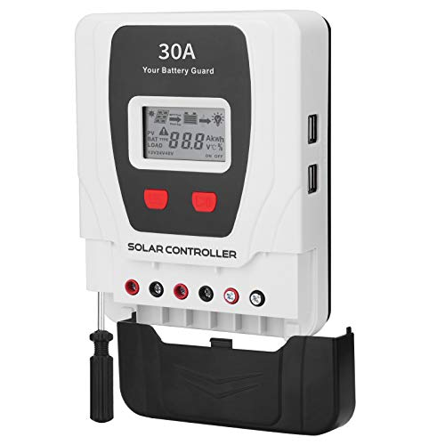 Hugoome PWM Solar Charge Controller 30A, Compatible with Li Sealed Gel Flooded Batteries, 12V/24V Solar Panel Battery Regulator with 4 USB Ports and a LCD Display, Built-in Screwdrive