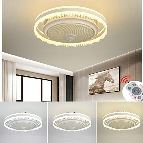 YaoXI Fan plafondventilator met verlichting, stil dimbaar, instelbare windsnelheid, plafondlamp voor slaapkamer, woonkamer, eetkamer