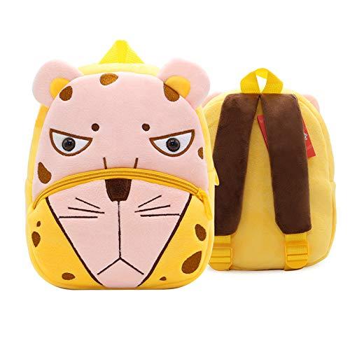 QXbecky Mochila para niños Zoo Series Cute Schoolbag para niños Mochila de hombro ligera Mochila de felpa Kindergarten Early Learning Bag Mini mochila Leopard 24x10.5x26.5cm