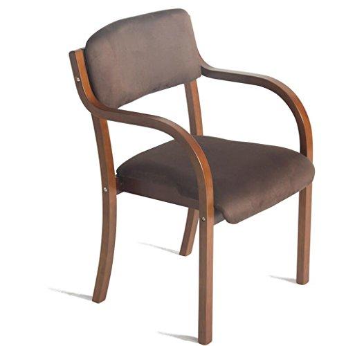 Rollsnownow Chaise de salle à manger en bois massif Coussin marron Chaise de bureau moderne Chaise simple (Color : Brown wooden frame)