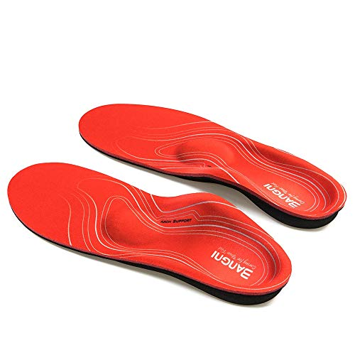 3ANGNI orthotic Insole High Arch Foot Support Soft Medical Functional insoles, Insert for Severe Flat Feet,Plantar Fasciitis,Feet Pain, Foot Valgus, Red, EU(41-42)270MM