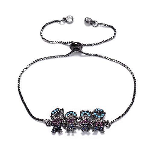 FUKAI Cubic Zirconia Bracelet Daddy, Girl, Boy And Mom Crystal Brass Sliding Chain Charm Bracelet (Color : Black)