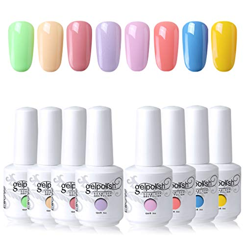 Elite99 Esmaltes Semipermanentes de Uñas en Gel UV LED, 8 Colores Kit de Esmaltes de Uñas de Color 024
