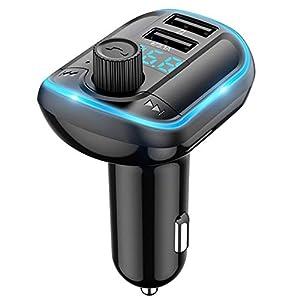 You's Auto Transmisor FM Bluetooth Coche Manos Libres, Inalámbrico Reproductor MP3 Mechero Coche con Dual USB Puerto Carga, Adaptador Receptor Cargador Coche Acepta Memoria USB & Tarjetas TF (A)