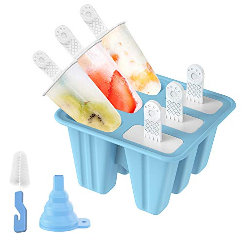 Popsicle Molds, Ozera 6 Pieces Reusable Ice Pop Molds Silicone Popsicle Maker With Silicone Funnel & Cleaning Brush