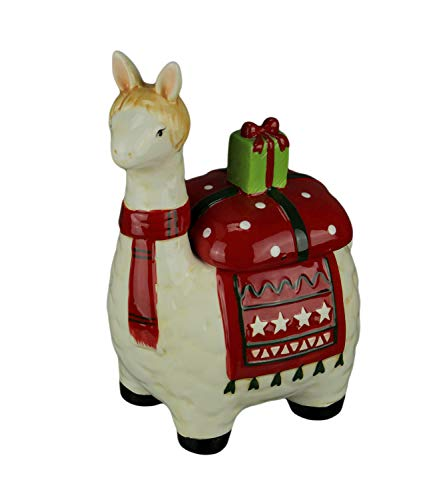 Ceramic Holly Llama Christmas Cookie Jar Standard