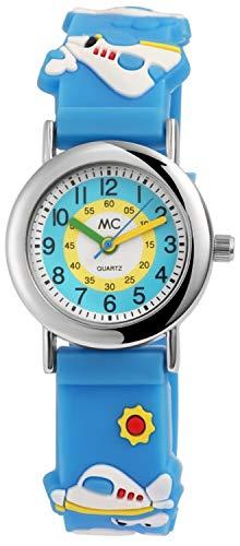 MC 3D Kinderuhr Quartz Analog Lernuhr, Silikon Armband mit Flugzeug Motiv Blau