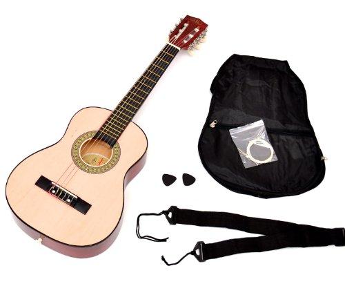 ts-ideen Kindergitarre Akustik Gitarre in der 1/4 Größe in Natur Braun für 4-7 Jahre mit Zubehörset: Gitarrentasche, Gurt und Ersatzsaiten