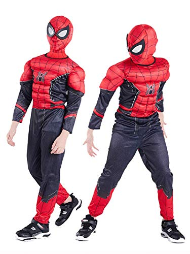 NVHAIM Kinder Spider-Man Deluxe Kostüm mit Muskeln, heroischen Expedition Spider-Man Cosplay Kostüm Medium, Alter 4-10 Jahre Kinder Muskle-Brustkostüm Filmset,Kid L 125~135cm
