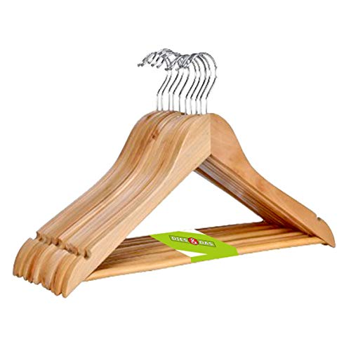 1 - 200 Stk. (50) Stück DIES&DAS qualitativ hochwertiger Designer Kleiderbügel aus Holz mit Hosensteg 360 Grad drehbarem Harken Hosenstange und Rockaufhängekerben Garderobenbügel Holzbügel Hosenbügel Hosenhalter in einem sehr schönen Design