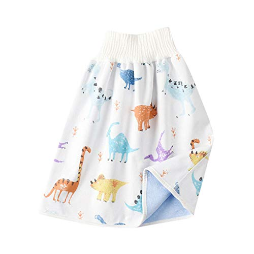 Kinderwindelrock Shorts 2 in 1, Bequeme wasserdichte und saugfähige Bloomers auslaufsichere bauchschützende Cartoonhose mit hoher Taille für Kleinkinder (0-4 Jahre alt, A)