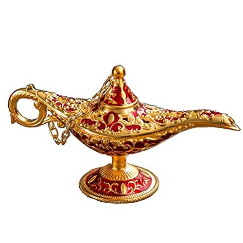 sevenjuly Tabla Ornamento 1pc Vintage Aladdin Creativo Genio De La Lámpara Artesanales De Metal Decoración del Hogar Decoración para El Hogar, Rojo