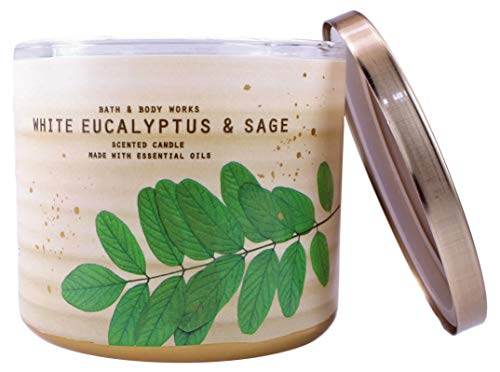 Bath and Body Works White Barn White Eucalyptus Sage 3 Wick Candle 14.5 Ounce Notes: White Eucalyptus, Mineral Sage, Frozen Pine
