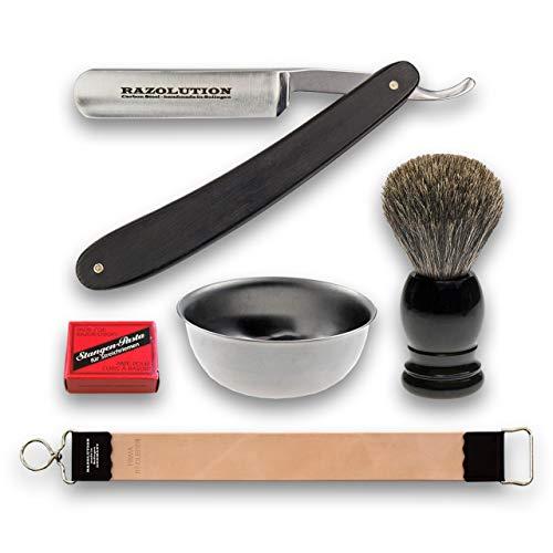 RAZOLUTION Rasiermesser-Set 5-teilig, Klinge 5/8, mit Abziehriemen, Rasierschale, Rasierpinsel und Paste