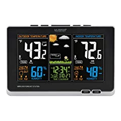 Full color LCD with weather icons: sunny, partly sunny, cloudy, rainy, stormy, snowy Atomic self-setting accurate time & date with automatic daylight saving time resets.Outdoor humidity range: 19% to 97% RH. Indoor humidity range: 19% to 97% RH Monit...