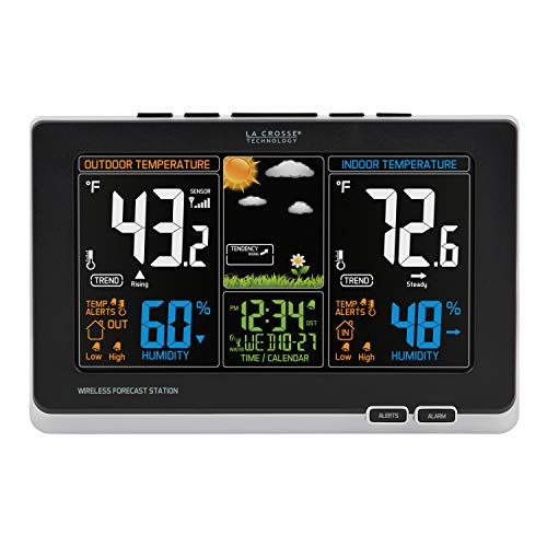La Crosse Technology 308-1414B-INT, Black 308-1414B Wireless Atomic Digital Color Forecast Station with Alerts