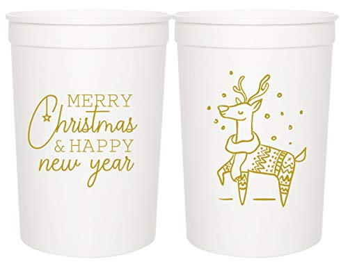 Christmas Party Cups - 'Merry Christmas & Happy New Year' and Reindeer - Set of 12 Gold and White 16oz Stadium Cups, Perfect for Christmas Party, Holiday Party Cups, Christmas Party Decoration