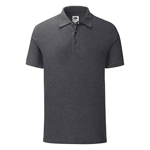 Fruit of the Loom 5er Pack Iconic Polo Shirt Herren Poloshirt Mehrpack Größe S - 3XL, Größe:L, Farbe:dunkelgrau meliert