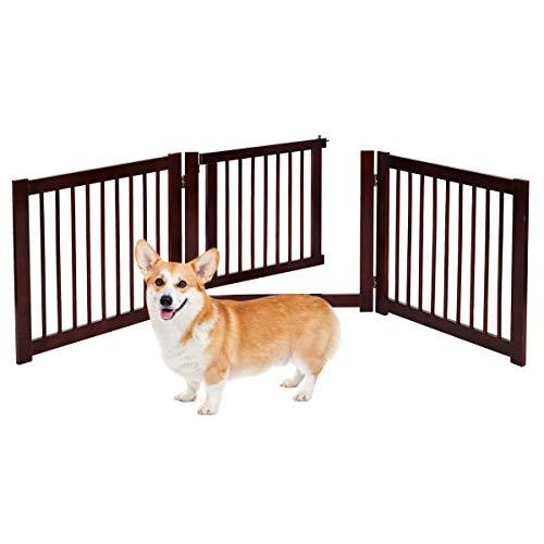 RELAX4LIFE Absperrgitter Hunde 3-teilig, Schutzgitter Holz 360° klappbar, Hundeabsperrgitter mit Einer Tür, Türschutzgitter für kleines Tier, für Küchen/Treppe/Garten, 206 x 61 x 1,8 cm