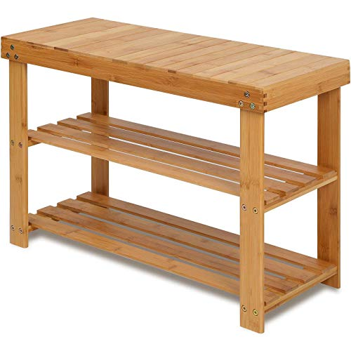 Bamboo Shoe Rack Bench, 3-Tier Shoe Shelf Organizer Holds up to 220 lbs, Entryway Storage Bench Ideal for Hallway Bathroom Living Room by Pipishell