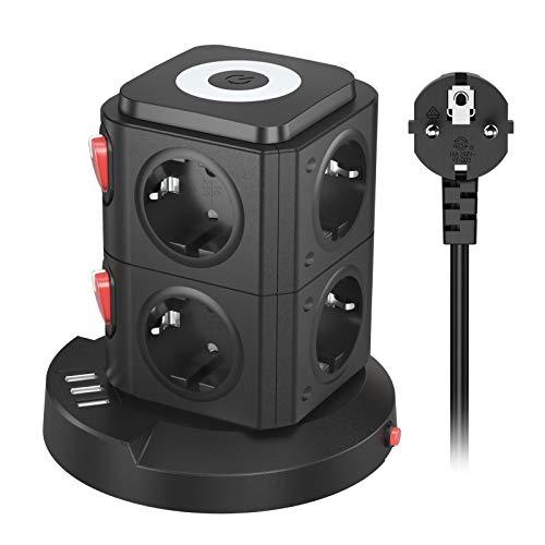 8Fach Steckdosenleiste, Mehrfachsteckdose Überspannungsschutz mit 3 USB ,Steckdosenturm mit Schalter und Schlafzimmer Nachtlicht,fur Wohnzimmer und Büro(2500W/10A),2M Kabel,Schwarz