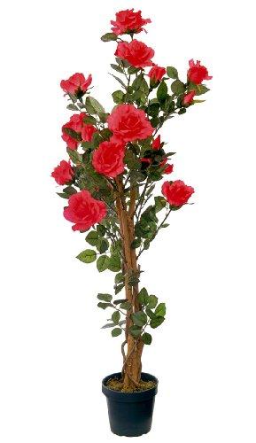 McPalms Rosenbaum hellrot 1,20 m Kunstpflanze Kunstrose Kunstblume