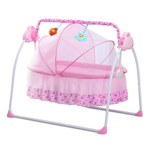 Electric Baby Cradle Auto-Swing Baby Bassinet Swing Bed w/Remote Controller 180° Lie Flat Infant Rocker Crib Sleeping Basket Bed with Pillow+Mat for Babies 0-12months (Pink)