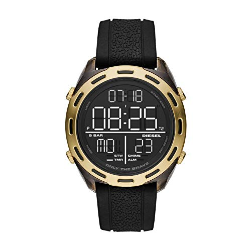 Diesel Men's 46mm Crusher Digital Lightweight Nylon and Silicone LCD Display Watch, Color: Gold/Black (Model: DZ1901)