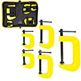 5 Pieces Iron C Clamp Set. 2 Pieces 1 Inch C Clamp, 2 Pieces 2 Inch C Clamp, 1 Pieces 3 Inch C Clamp for Woodworking, Welding, and Building with Storage Bag