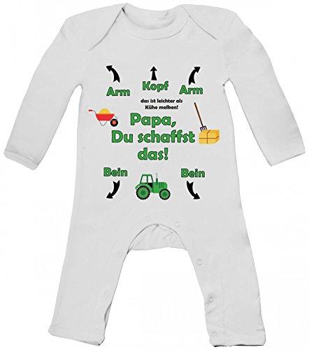 Geschenk zum Vatertag Trecker Traktor Baby Strampler Langarm Schlafanzug Jungen Mädchen Landwirt - Papa Du schaffst das, Größe: 3-6 Monate,White