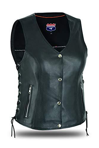 Highway Leather Women's Motorcycle Side Lace Leather Vest Zipper Pockets 2 Gun Pocket (5XL) Black